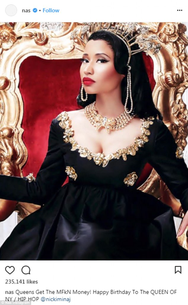'Queen of NY':The last interaction between the pair on social media was when Nas wished Nicki a happy birthday via his Instagram page on December 8