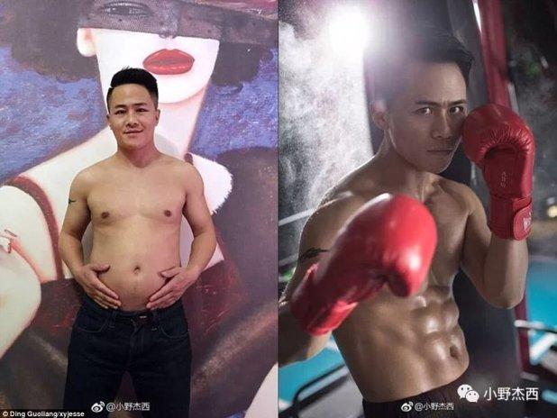 Hijo cuidadoso: Ding Guoliang, de China, ganó deliberadamente 1,6 piedras (izquierda) antes de comenzar a perder peso con su padre.  Dijo que de esa manera su padre se sentiría menos incómodo de ir al gimnasio.  El fotógrafo ahora cuenta con un paquete de seis (derecha)