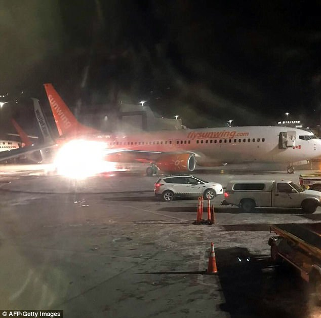Sunwing said there were no crew members on its aircraft, and it was being towed by the airline's ground handling service provider at the time of the incident