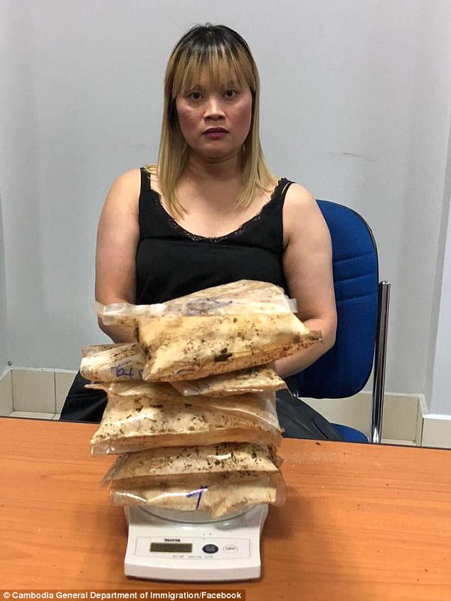 An Australian woman (pictured is Ve Thi Tran) has been arrested at Phnom Penh International Airport with almost two kilograms of heroin allegedly stashed in her luggage
