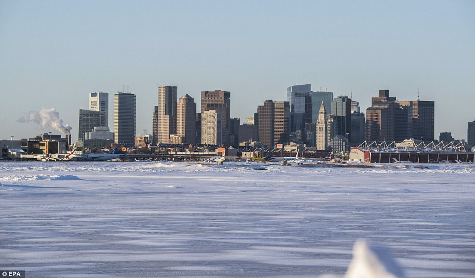 A view on the city of Boston skyline in Boston, Massachusetts, USA, on the heels of a major winter storm on the East coast