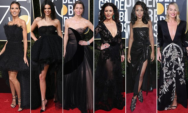 Golden Globes: Red Carpet Sees Stars Wear Black In Protest