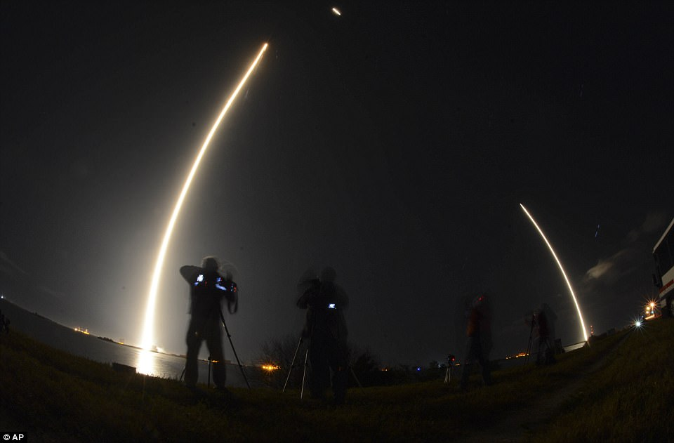 Pictured is another view made with a long exposure. The ship launched in an orbit less than 1,200 miles from Earth and within two minutes prepared for its rocket booster to land right back at the Air Force Station, which it did
