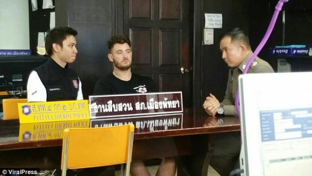 British tourist Reece Vella, 25, is interviewed by Thai police today after being arrested over Wannipa's death