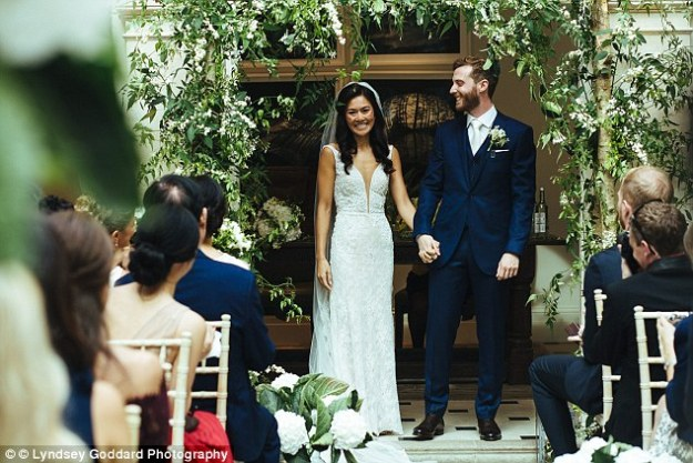 Enlisting the help of a personal trainer, she soon realised the sacrifices were worth it for the results. Pictured, Sarah and Alexander on their wedding day