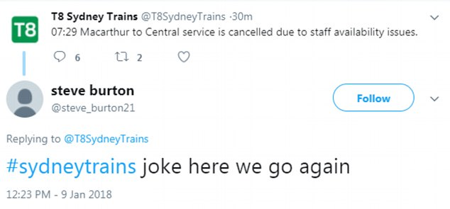 Sydney train lines were already reporting delays and cancellations on Wednesday morning (above)
