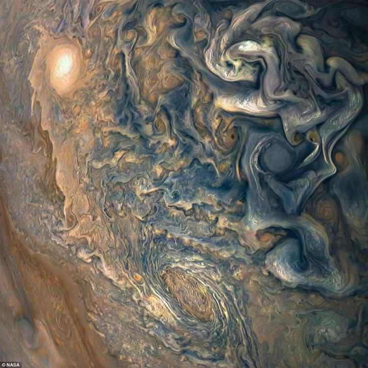 Jupiter  fills the image, with only a hint of the terminator (where daylight fades to night) in the upper right corner, and no visible limb (the curved edge of the planet). Juno took this image of colorful, turbulent clouds in Jupiter's northern hemisphere on December 16, from 8,292 miles (13,345 kilometers) above the tops of Jupiter's clouds