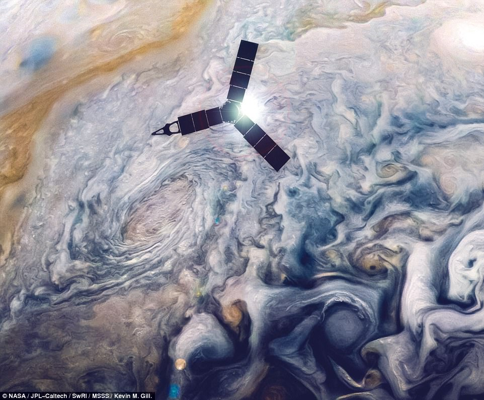 This illustration depicts Juno soaring over Jupiter's swirling cloud top. The craft comes close to the surface of Jupiter for just a few hours once every 53 days. The probe can't take images through the duration of the flyby, and instead targets select regions during each close approach
