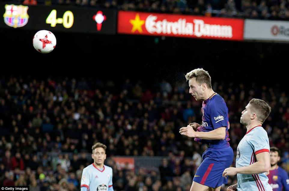 Ivan Rakitic completed the scoring by heading in Dembele's corner with just three minutes remaining on a comfortable night