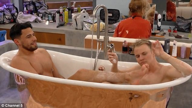 Hilarious: Celebrity Big Brother stars Andrew Brady and Shane Jenek showed off their amazing connection in a clip for Friday's show, as they shaved each other's legs while sharing a bath