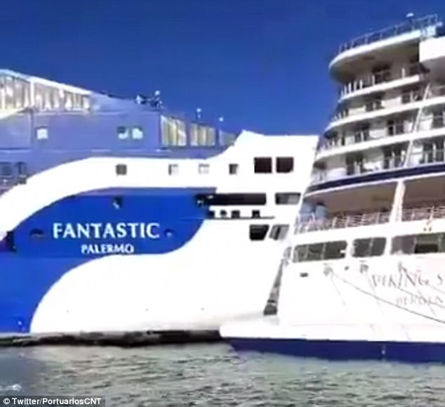The Footage Shows The Huge Ferry Called Fantastic Colliding With The Docked