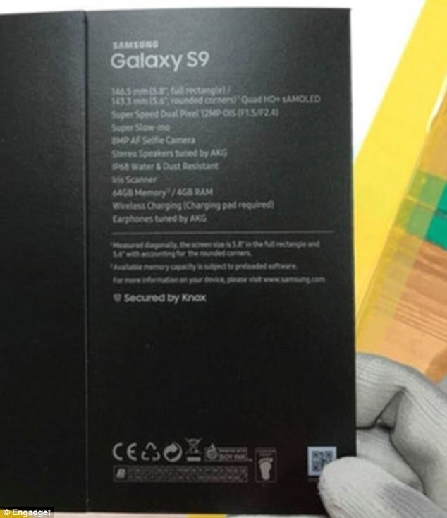 If real, the box shows shows the handset will have a 5.8-inch Quad HD+ AMOLED display, with an 8-megapixel front-facing camera and 12 megapixel rear camera.