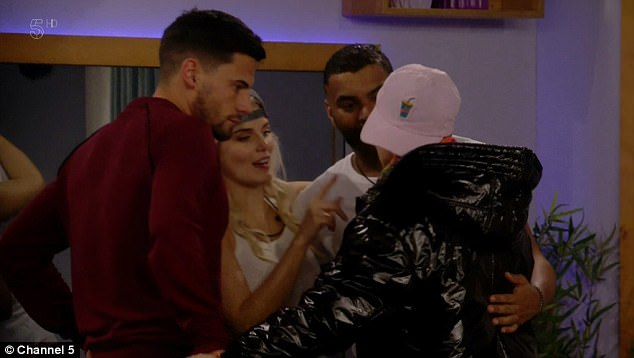 Willing: Andrew said 'look, we'll do it!' and pecked Shane - as Malika tried to count down from three for Ashley and Ginuwine's amorous moment