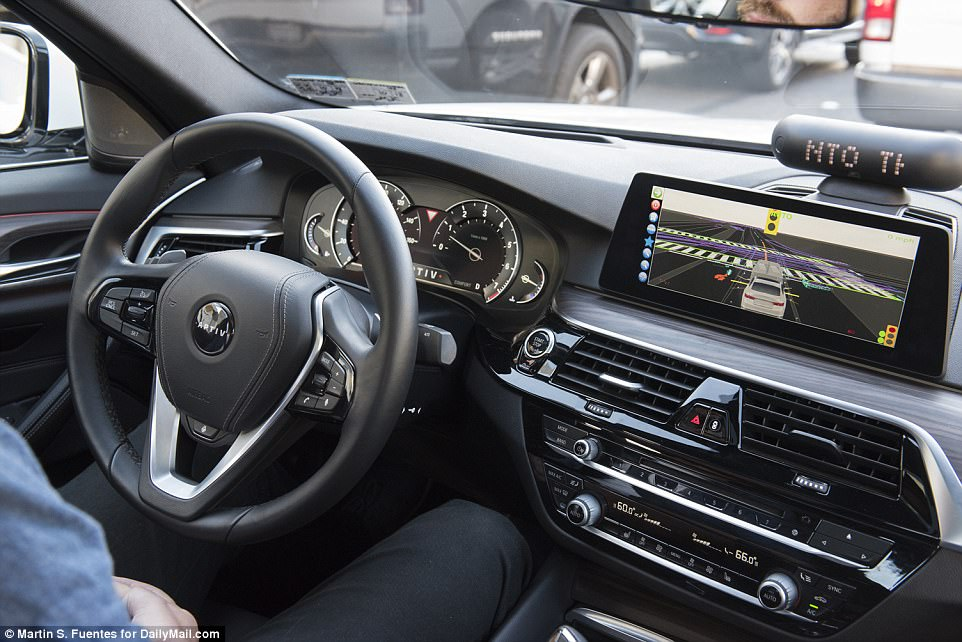 When you first get in, it's not all that different from getting into a typical Lyft, as someone is sitting in the driver's seat. But, the backup driver keeps their hands off the wheel except in situations where it's required they take over.But instead of a smartphone with GPS  on the dashboard, the self-driving Lyft is equipped with a small display that shows everything it sees