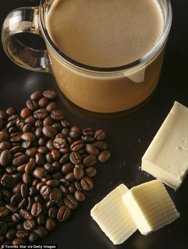 One of the things Scott swears by is MCT oil, which you can stir through coffee with unsalted grass-fed butter to make Bulletproof coffee (stock image)