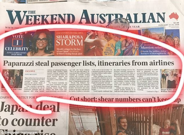 Big trouble: Bec was drawing attention to recent media articles suggesting paparazzi are 'stealing' passenger lists