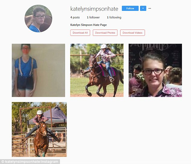 A vile Instagram page has been set up mocking rodeo champion Katelyn Simpson, who is 15