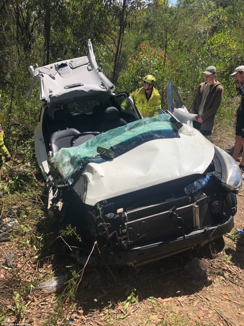 Sam Lethbridge's vehicle after he was cut free from the wreckage near Murrays Beach, south of Newcastle, on Monday