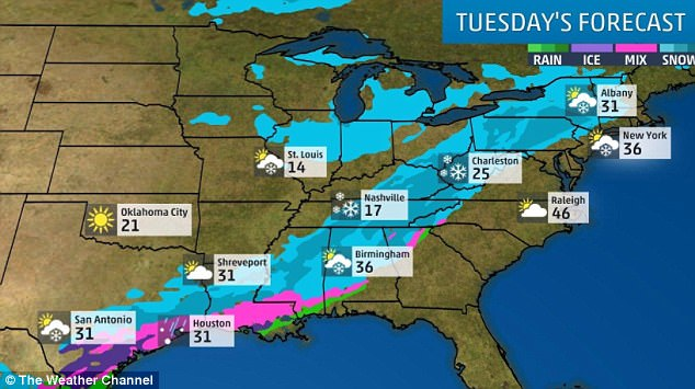 The winter storm belt is traveling north, making its way from San Antonio, Texas, all the way to Albany, New York