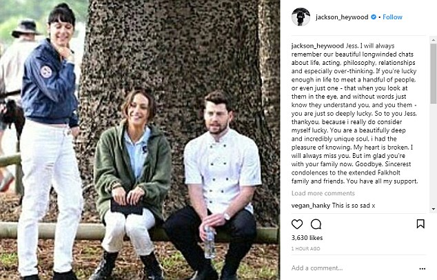 'My heart is broken. I will always miss you': Last Thursday, following the news of her life support being switched off, Home And Away's Jackson Heywood, 29, posted a heartfelt tribute