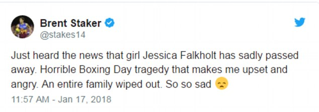 'Horrible Boxing Day tragedy that makes me upset and angry': Former AFL player Brent Staker also tweeted his condolences