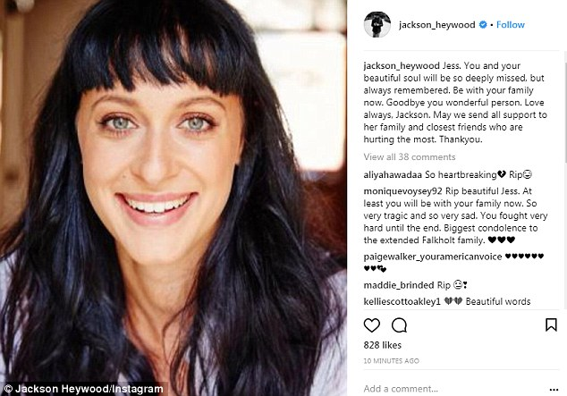 Jackson Heywood, who stars as Brody Morgan on the long-running series posted: 'Jess. You and your beautiful soul will be so deeply missed, but always remembered.