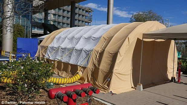 ] Several hospitals in California are installing giant tents in their parking lots to deal with the influx of patients with flu