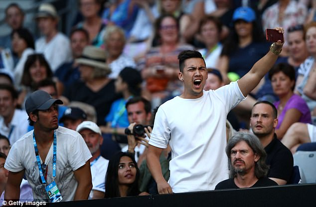 An attention-seeking internet prankster brought Nick Kyrgios' Australian Open match to a halt after he began filming himself while making a 'sex noise'.