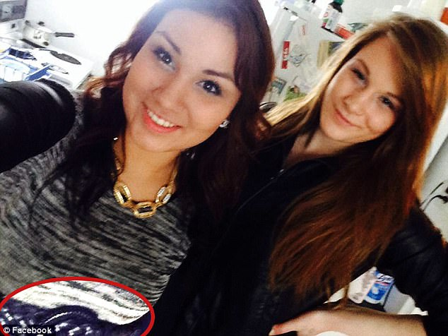 Killer: Cheyenne Rose Antoine, 21,left, has been convicted of manslaughter thanks to this selfie of her with Brittney Gargol, 18, right, in which she wears the belt used to strangle Gargol