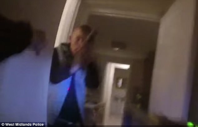 This was the dramatic moment a police officer responding to a burglary call was confronted by a gun-wielding teenager who has now been jailed