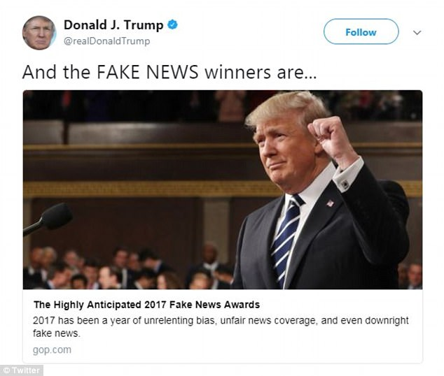 The so-called 'winners' of President Donald Trump's highly publicized 'Fake News Awards' were released in a tweet on Wednesday, with a broken link and little fanfare