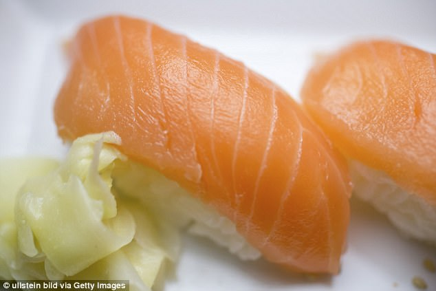The patient who was treated for the tapeworm told doctors that he would eat raw salmon almost every day.Last year, health officials warned that salmon caught off the coast of Alaska may contain tapeworm. A stock photo of Nigiri sushi is seen above