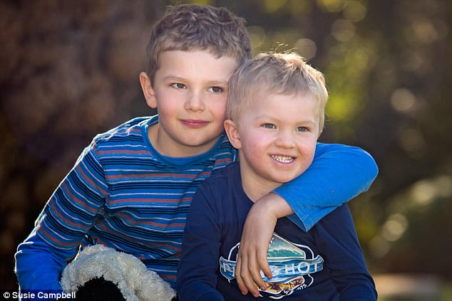 Big brother Thomas (pictured left) is a couple of years ahead of Patrick (pictured left) at school