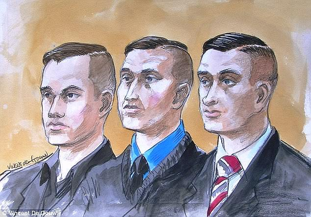 Kurt Stevenson (left), Andrew Waters (centre) and Tristan Carlyle-Watson - three men who filmed the the gang rape of an intoxicated 16-year-old girl at a western Sydney house party on a GoPro have been jailed - are pictured in a court sketch