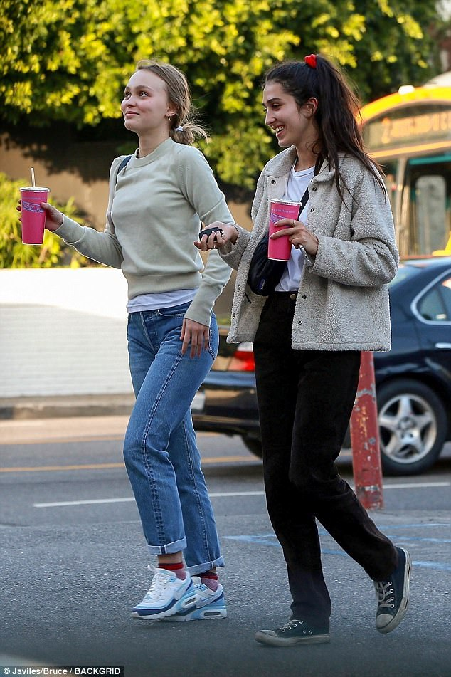 Girls day: Make-up free Lily-Rose Depp showed off her natural beauty as she enjoyed lunch with her gal pal at Pinches Tacos in West Hollywood on Thursday