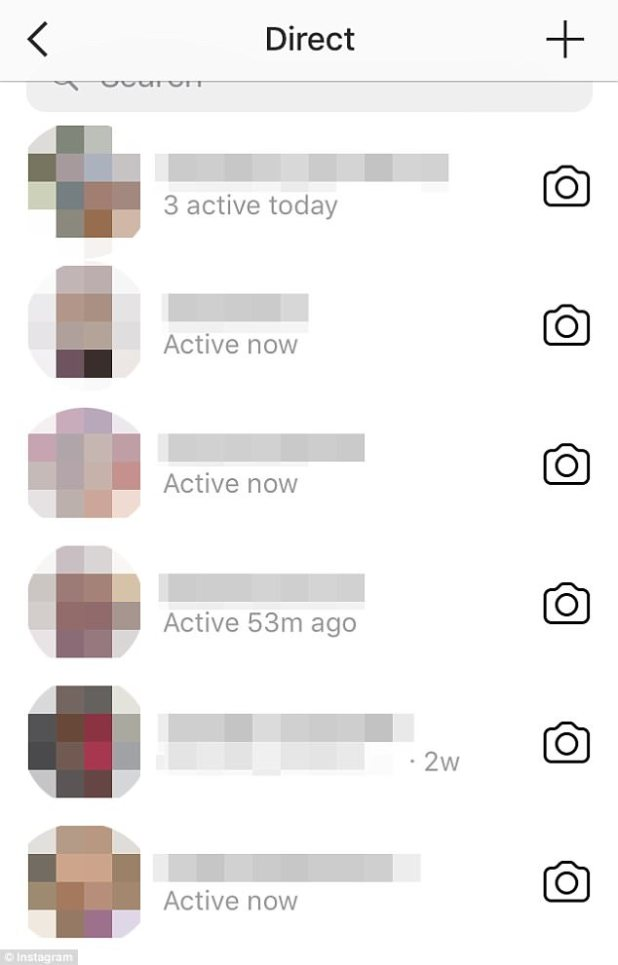 When users swipe left after opening the app, the private messaging function opens. Here, a list of all past conversations are revealed with usernames, profile images and now, a 'last active' note including showing if users are currentlyactive