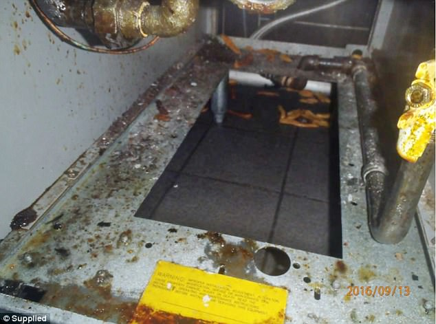 This photo of the Belmont store shows ovens, grills, pipes and sinks coated in grease & grime