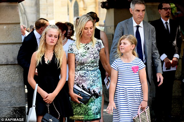Parents Charlotte and Arthur Inglis at their daughter Olivia's funeral at a Randwick church