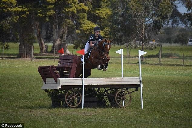 Teenage equestrian star Olivia Inglis clearing a jump; she died in a fall in March 2016