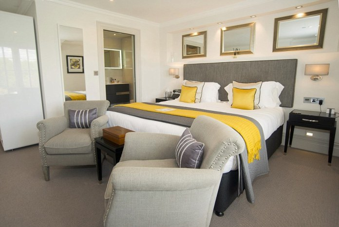 One of the bedrooms at the Tavistock House Hotel in Devon, which takes the title of Europe's best small hotel in the TripAdvisor awards