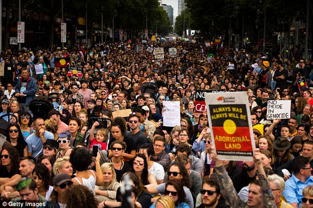 Thousands of Melbournians march through Melbourne on January 26, 2017 in Melbourne - this year's protest is expecting 50,000 people
