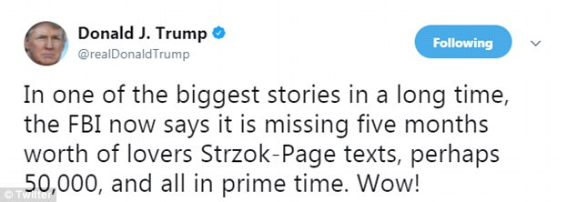 President Donald Trump put the spotlight back on the FBI agents he'd previously accused of 'treason' in an early-morning tweet