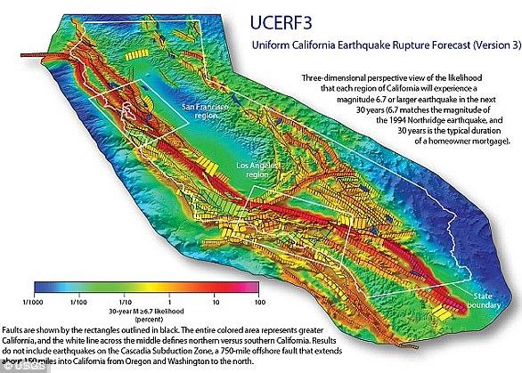 Shown above is the chance of an earthquake across California over the next 30 years