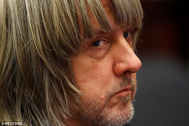 David Turpin (pictured) looked back at his lawyers during the hearing on Wednesday