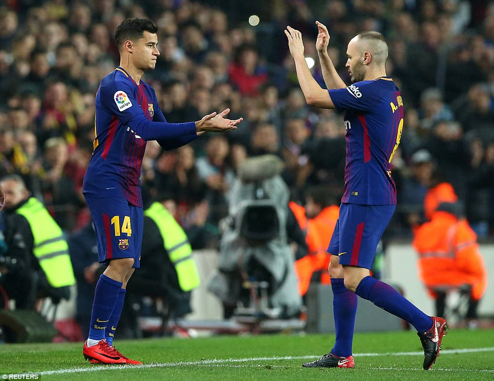 There was even time for record signing Philippe Coutinho (left) to make his Barcelona bow when he replaced Andres Iniesta