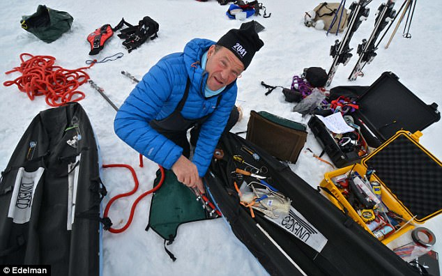 Robert Swan is pictured with some of the advanced technology used on the expedition as he and his son aimed to send a message to world leaders about renewable energy