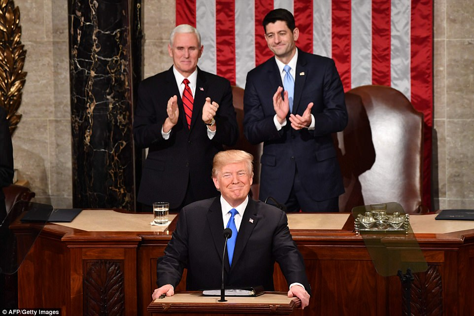 President Donald Trump celebrated the 'incredible progress' and 'extraordinary success' that his administration has made in the year since he took office as he began his State of the Union address on Tuesday
