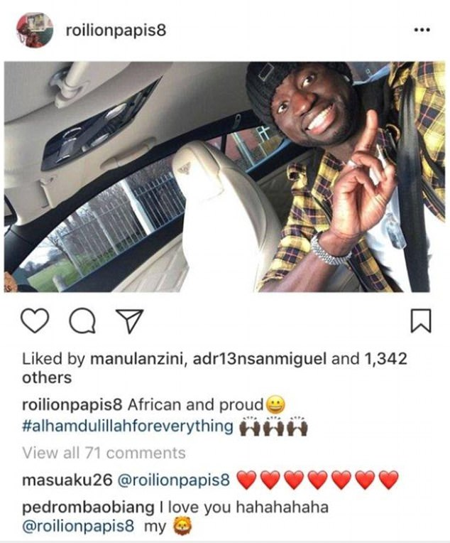 West Ham midfielder Cheikhou Kouyate posted on Instagram on Thursday: 'African and proud'