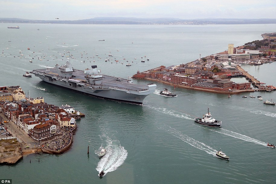 The vessel has a crew of 700, although that will increase to 1,600 when she has a full complement of F-35B jets