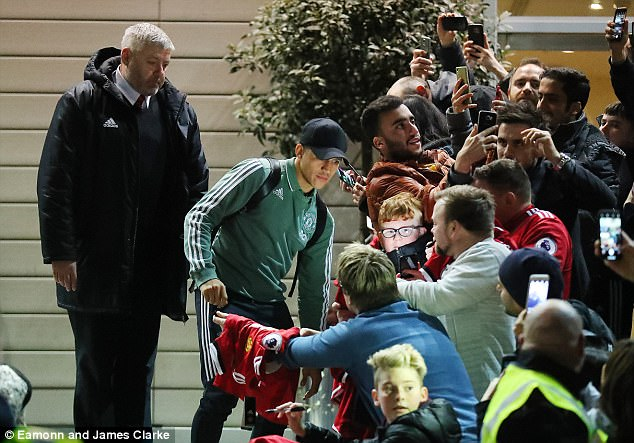 The new Manchester United star also posed for photos outside the Lowry Hotel